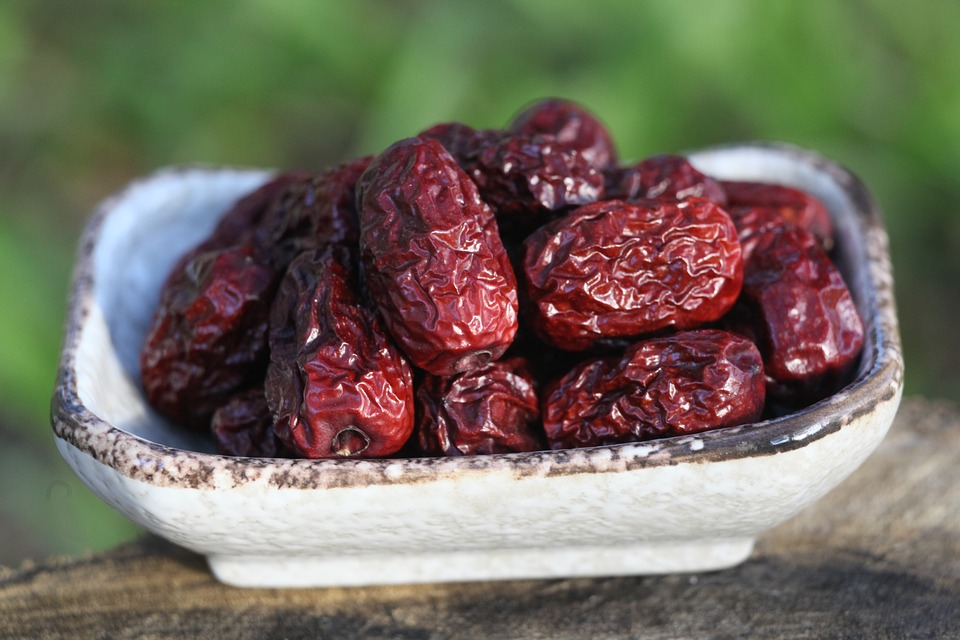 A bowl of dried dates, a natural laxative